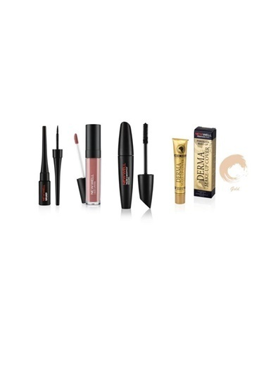 New Well Newwell Porcelain Make Up Dipliner+Derma Yoğun Kapatıcı Fondöten 01 Gold+Porcelain Make Up Lipstick D-204 6 Ml+Maskara 8 Gr Renkli